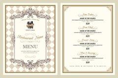 Conception de menu de restaurant de style de vintage Photos libres de droits