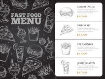 Conception de menu de vecteur de brochure de restaurant avec les aliments de préparation rapide tirés par la main Photographie stock