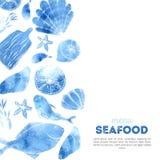 Conception de menu de fruits de mer d'aquarelle avec des articles de croquis Fond de conception de poissons illustration libre de droits