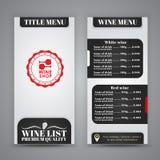 Conception de menu pour des cafés de vin, restaurants Image libre de droits