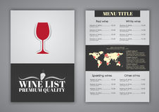 Conception de menu pour des cafés de vin, restaurants illustration libre de droits