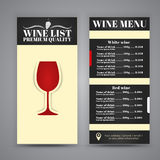 Conception de menu pour des cafés de vin, restaurants Photographie stock