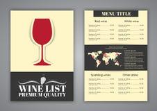 Conception de menu pour des cafés de vin, restaurants Photographie stock libre de droits