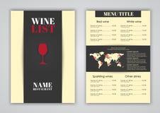 Conception de menu pour des cafés de vin, restaurants Photo stock