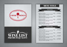 Conception de menu pour des cafés de vin, restaurants Photo libre de droits