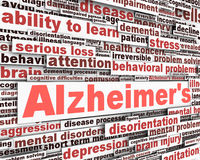 Conception de message de maladie d'Alzheimer Photo stock