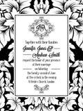 Conception de modèle de damassé pour épouser l'invitation en noir et blanc Cadre royal de brocard et monogramme exquis Images libres de droits