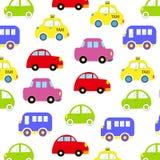 Conception de modèle de véhicule de bébé Modèle sans couture de voitures colorées drôles tirées par la main de bande dessinée Pap Photographie stock