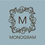 Conception de monogramme Cadre floral d'ensemble de vecteur ou illustration de vecteur
