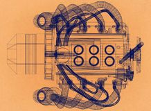 Conception de moteur - rétro architecte Blueprint illustration libre de droits