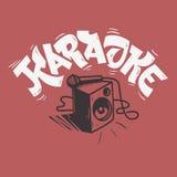 Conception de musique de lettrage de karaoke avec un haut-parleur et un microphone images stock