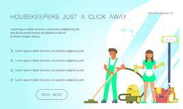 Conception de nettoyage de service pour la page de débarquement illustration stock