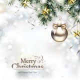 Conception de Noël avec des ornements de Noël illustration stock