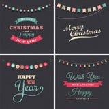 Conception de Noël de vintage avec des guirlandes illustration libre de droits