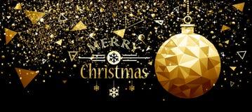 Conception de nouvelle année de boule d'or de Noël illustration de vecteur