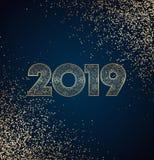 Conception de nouvelle année de l'or 2019 sur le fond foncé avec les confettis d'or et le modèle de flocons de neige illustration de vecteur