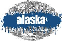 Conception de nuage de mot de l'Alaska Image stock