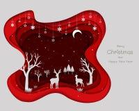 Conception de papier d'art avec des cerfs communs famille et flocons de neige sur le fond abstrait rouge illustration de vecteur