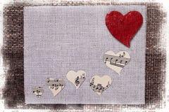 Conception de papier peint de fond d'amour de musique de coeur Image stock
