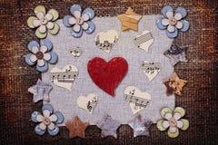 Conception de papier peint de fond d'amour de musique de coeur Photos libres de droits