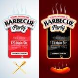 Conception de partie de barbecue, invitation de barbecue Logo de barbecue Conception de menu de calibre de BBQ Insecte de nourrit Images libres de droits