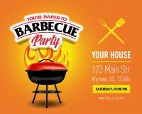 Conception de partie de barbecue, invitation de barbecue Logo de barbecue Conception de menu de calibre de BBQ Insecte de nourrit Image libre de droits