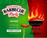 Conception de partie de barbecue, invitation de barbecue Logo de barbecue Conception de menu de calibre de BBQ Insecte de nourrit Image stock