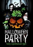 Conception de partie de Halloween avec le potiron, zombi, loup-garou, la mort, sorcière, vampire Image stock