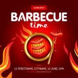 Conception de partie de temps de barbecue avec le feu sur le bouclier, invitation de barbecue Logo de barbecue Conception de menu Image libre de droits