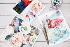 Conception de peinture d'aquarelle de métier de dessin d'art Photographie stock libre de droits