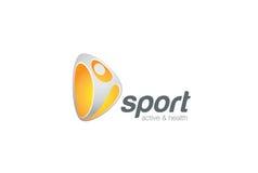 Conception de personnages active d'emblème de logo de forme physique de sport Image libre de droits