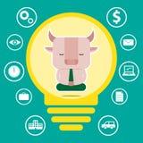 Conception de personnages et concept d'affaires Illustration de symb de taureau Image stock