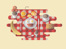 Conception de petit déjeuner plate illustration libre de droits