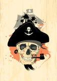 Conception de pirate avec le crâne d'ordinateur de secours. illustration de vecteur