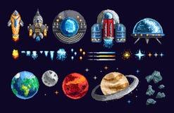 Conception de pixel des vaisseaux spatiaux et des planètes illustration libre de droits