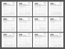 Conception de planificateur de 2018 calendriers Image stock