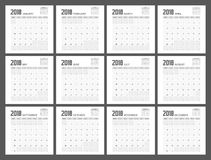 Conception de planificateur de 2018 calendriers Photographie stock libre de droits