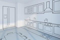 Conception de planification de cuisine, concept 3d illustration libre de droits