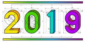 Conception de projet technique de police de la nouvelle année 2019 dans le style 3D coloré abstrait avec des barres d'axe et de g illustration libre de droits