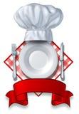Conception de restaurant avec une plaque et un chapeau Images stock