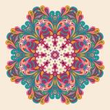 Conception de roue de filigrane de mehndi de Hina Naturel fait main Images libres de droits