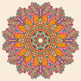 Conception de roue de filigrane de mehndi de Hina Naturel fait main Image libre de droits