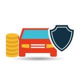 conception de sécurité d'argent de voiture de protection d'assurance illustration libre de droits