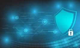 Conception de sécurité de technologie de vecteur avec divers technologique sur le fond bleu Images libres de droits