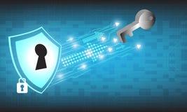Conception de sécurité de technologie de vecteur sur le fond bleu Photos libres de droits