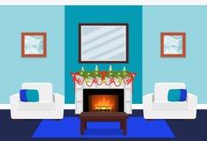 Conception de salon avec la branche de cheminée et d'arbre Illust de vecteur illustration stock