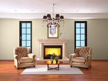 Conception de salon avec la cheminée et deux fauteuils image stock