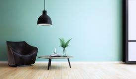 Conception de salon, intérieur de style moderne, 3d rendu, illustration 3d illustration libre de droits
