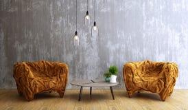 Conception de salon, intérieur de style moderne de grenier illustration stock