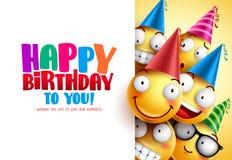 Conception de salutation de vecteur d'anniversaire de smiley avec des émotions drôles et heureuses jaunes illustration de vecteur